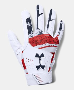 언더아머 UA 클린업 야구 배팅장갑 Under Armour Mens UA Clean Up Printed Baseball Gloves,White (1299534-103)