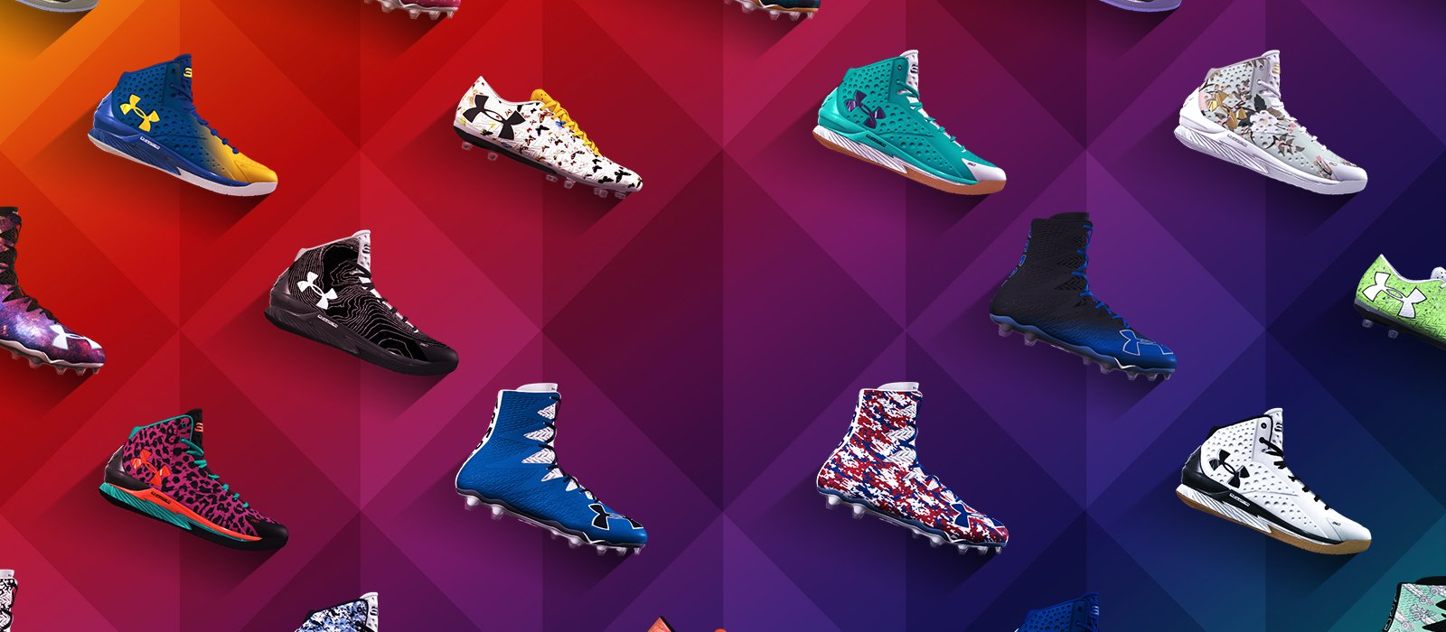 Colorful wall of customized UA Curry One Basketball Shoes, UA Highlight Cleats & UA Spotlight Cleats