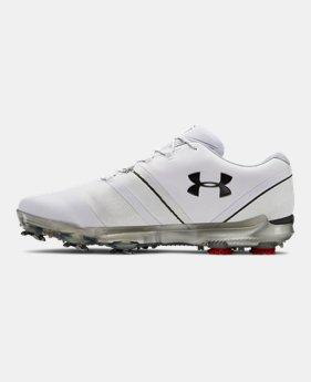 언더아머 UA 남성 스피스3 골프화 Under Armour Mens UA Spieth 3 Extra Wide 2E Golf Shoes,White (3022255-102)