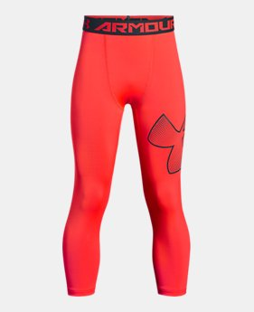 언더아머 UA 보이즈 UA 레깅스 Under Armour Boys HeatGear Armour ¾ Logo Leggings,NEON CORAL (1289963-985)
