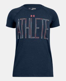 언더아머 Under Armour Girls UA Athlete T-Shirt,Academy (1305328-408)