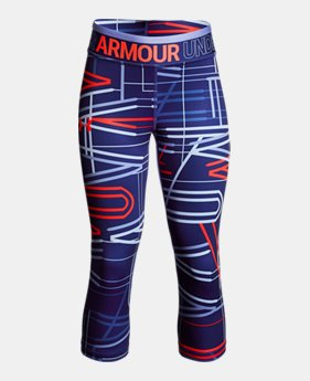 언더아머 걸즈 바지 Under Armour Girls HeatGear Armour Printed Capris