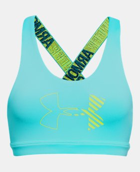 언더아머 UA 걸즈 스포츠 브라 Under Armour Girls HeatGear Armour Graphic Bra,Venetian Blue (1305649-448)