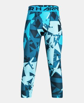 언더아머 UA 보이즈 UA 레깅스 Under Armour Boys HeatGear Armour ¾ Printed Leggings,Techno Teal (1306063-489)