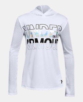 언더아머 Under Armour Girls UA Tech Varsity Hoodie,White (1311342-100)