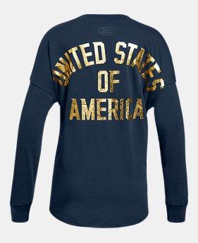 언더아머 Under Armour Girls UA Stars & Stripes Long Sleeve,Academy (1316610-408)
