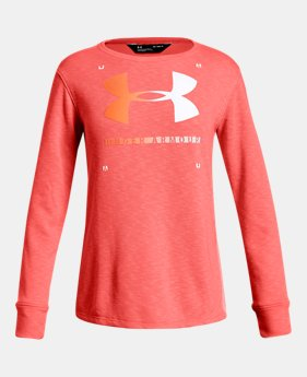 언더아머 UA 걸즈 긴팔 티셔츠 Under Armour Girls UA Finale Terry Crew