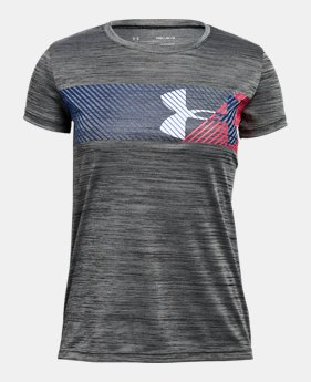 언더아머 걸즈 반팔 티셔츠 Under Armour Girls UA Hybrid Big Logo T-Shirt