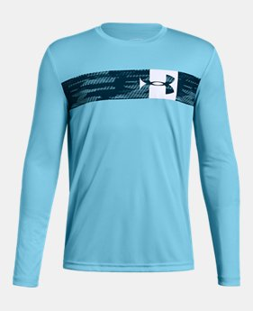 언더아머 Under Armour Boys UA Pixel Crossbar Long Sleeve T-Shirt