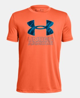 언더아머 Under Armour Boys UA Print Fill Logo T-Shirt,MAGMA ORANGE (1329819-889)