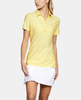 언더아머 여성 골프의류 UA Zinger 폴로 반팔티 옐로우, Womens UA Zinger Short Sleeve Polo