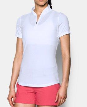 언더아머 여성 골프의류 UA Threadborne 폴로 반팔티 화이트 Womens UA Threadborne Zip Polo Shirt