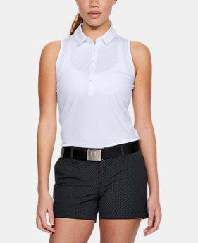 언더아머 여성 골프의류 UA Zinger 폴로 민소매티 화이트, Womens UA Zinger Sleeveless Polo