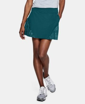언더아머 UA 골프웨어 UA Links Knit 스커트 화이트/틸, Under Armour Womens UA Links Knit Skort