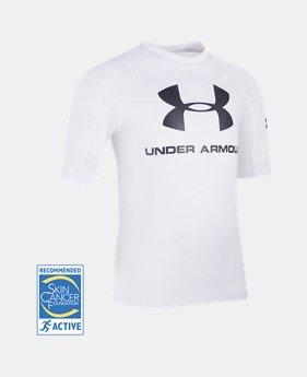 언더아머 남아용 반팔 티셔츠 Under Armour Boys Pre-School UA Compression Rashguard Short Sleeve Shirt,White (1308556-100)