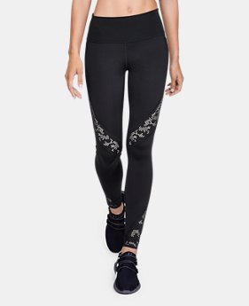 언더아머 Under Armour Womens Misty Copeland Signature Perforated Lace Leggings,Black (1314281-001)