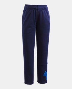 언더아머 Under Armour Boys Pre-School Armour Fleece Big Logo Pants,Midnight Navy (1316452-410)