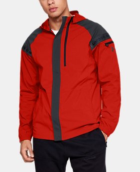 언더아머 Under Armour Mens UA Pursuit Windbreaker,RADIO RED (1317412-890)