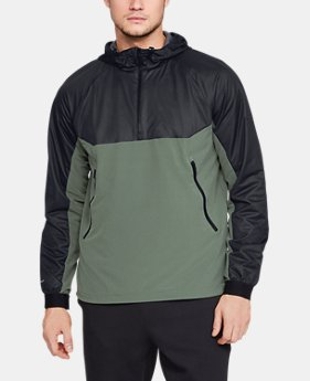 언더아머 Under Armour Mens UA Unstoppable GORE WINDSTOPPER ½ Zip Windbreaker,Black (1317901-002)