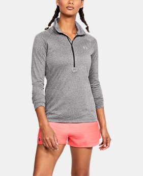 언더아머 UA Under Armour Womens UA Tech ½ Zip,CHARCOAL LIGHT HEATHER (1320126-019)