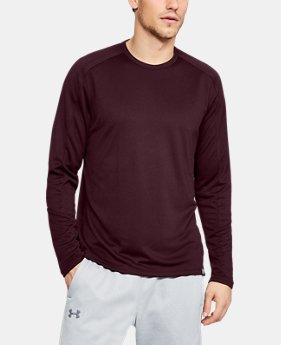 언더아머 UA 긴팔 티셔츠 Under Armour Mens UA Lighter Longer Crew,DARK MAROON (1320829-601)