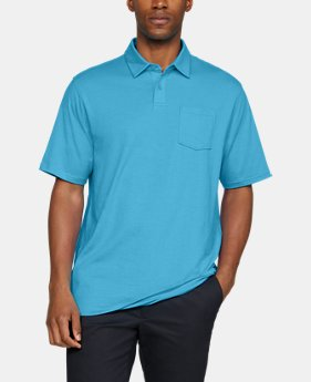 언더아머 Under Armour Mens Charged Cotton Scramble Polo,ALPINE (1321111-468)