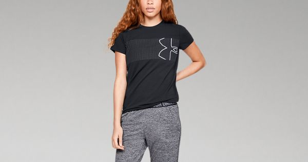 Under Armour Women/'s Graphic Classic Crew Chest Logo Short-Sleeve Shirt Size MD
