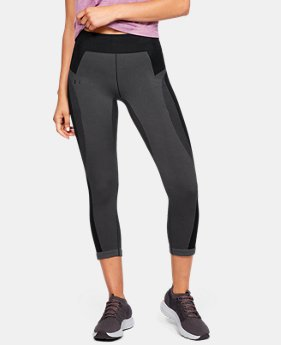 언더아머 Under Armour Womens UA Vanish Seamless Crop,Jet Gray (1328285-010)