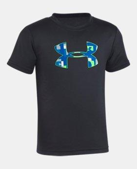 언더아머 남아용 반팔 티셔츠 Under Armour Boys Pre-School UA Wordmark Big Logo T-Shirt,Black (1328432-001)