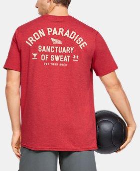 [언더아머 프로젝트 락 컬렉션] 아이언 파라다이스 반팔티 Under Armour Mens Project Rock Iron Paradise Short Sleeve,Fraternity Medium Heather (1346098-661)