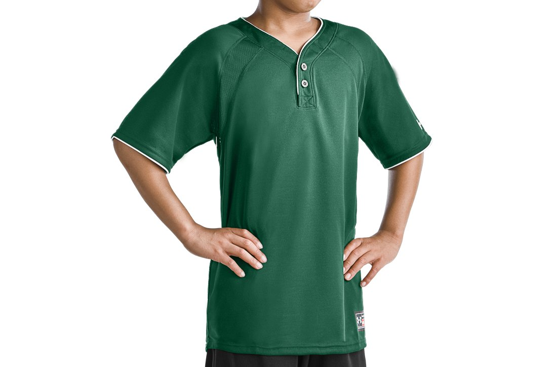 Boys' Lansdowne 2 Button Henley, Forest Green
