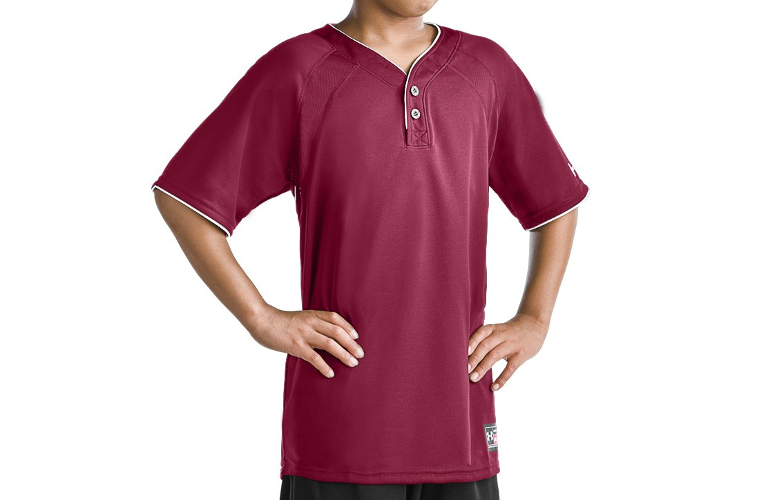 Boys' Lansdowne 2 Button Henley, Maroon, zoomed image