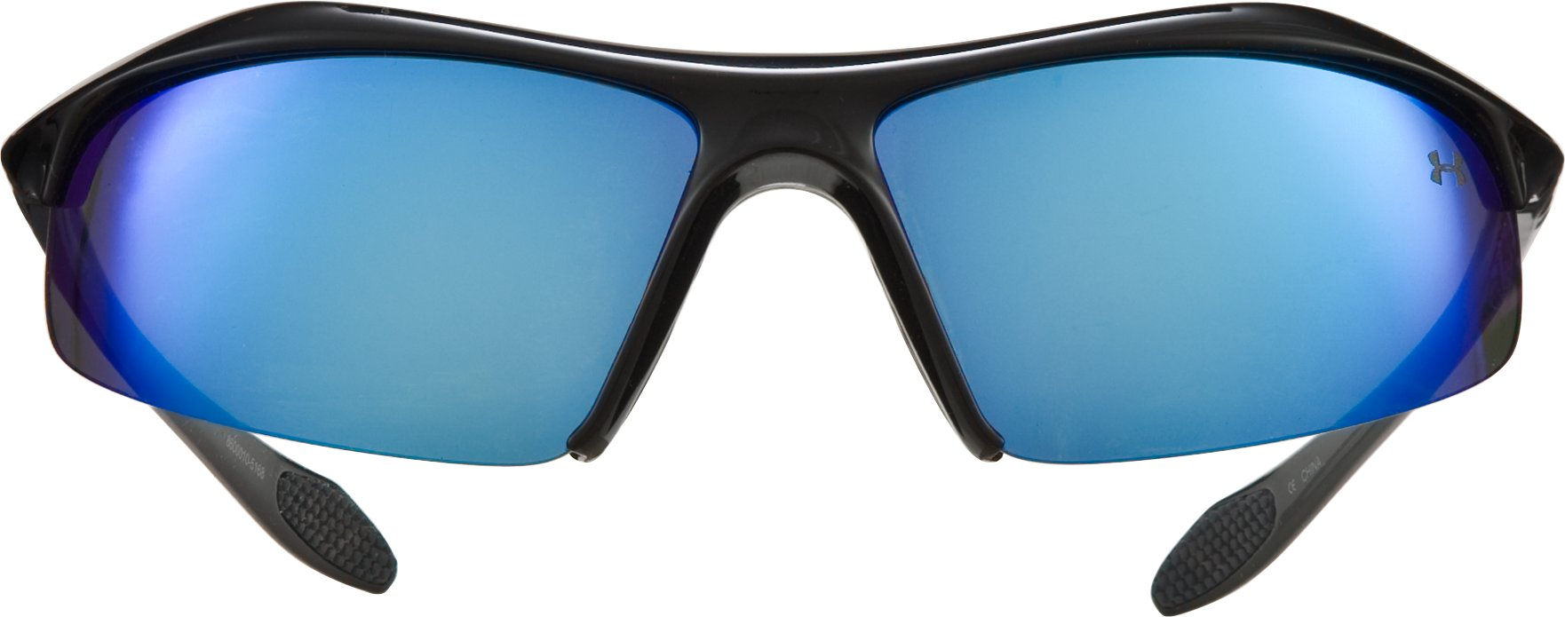 UA Zone Polarized Blue Mirror Sunglasses, Shiny Black