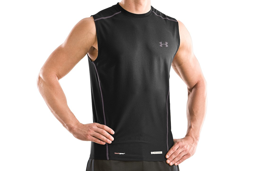 Men's UA HeatGear® Fitted Sleeveless Crew, Black