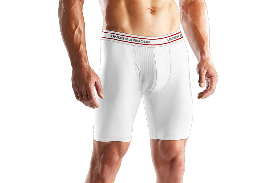 "Men's O Series Boxerjock® 9"" Boxer Briefs, White, zoomed image"