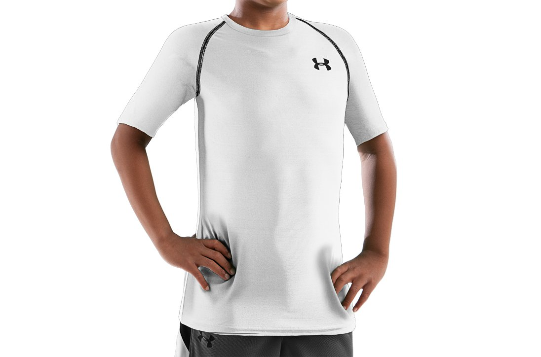 Boys' HeatGear® ½ Sleeve T-Shirt, White, zoomed image