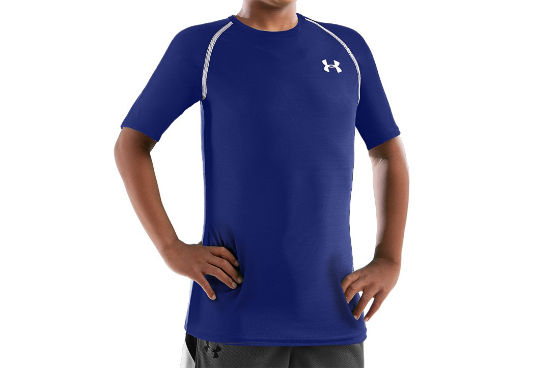 Boys' HeatGear® ½ Sleeve T-Shirt, Royal, zoomed image