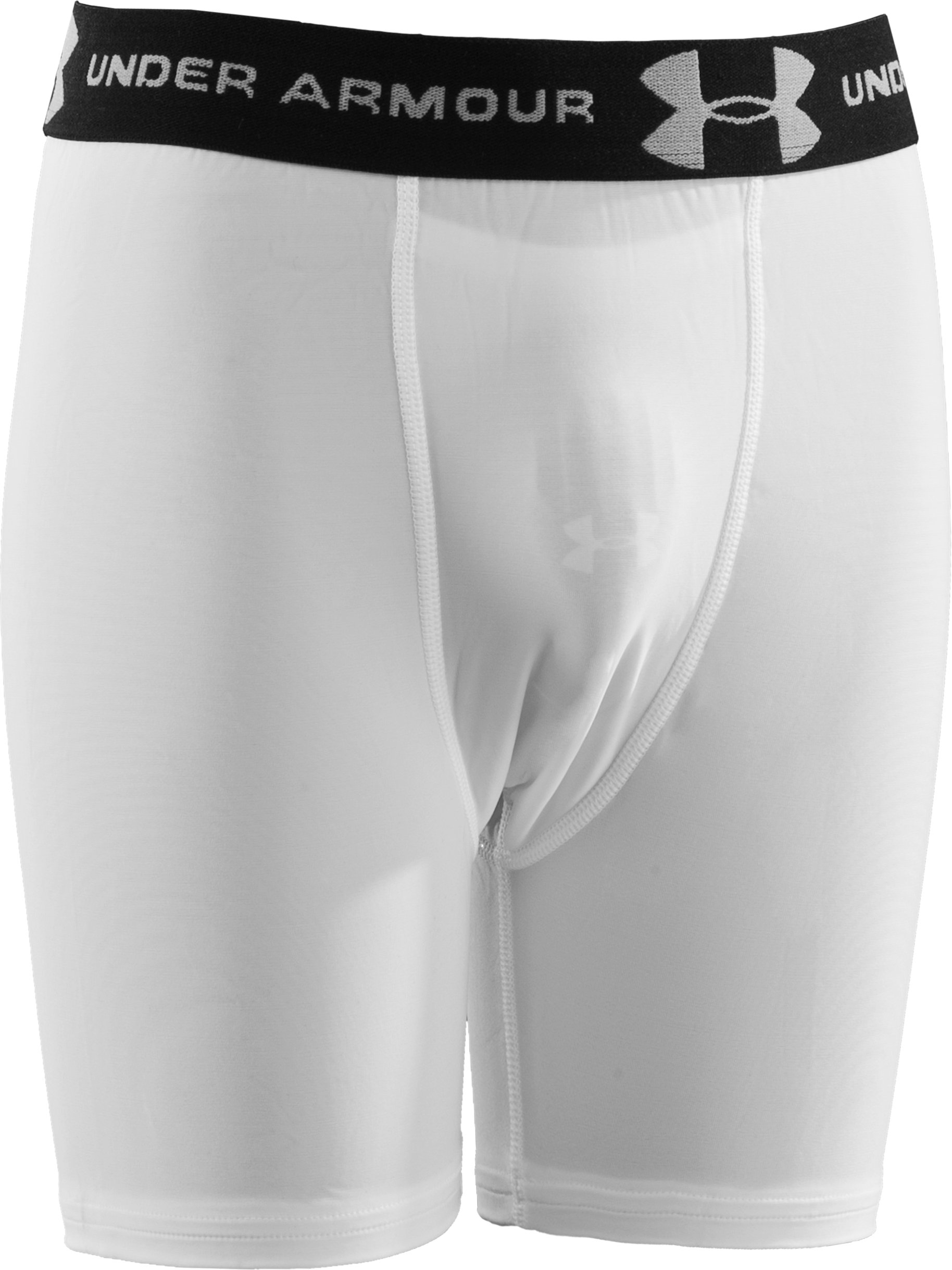 Boys' Compression Shorts with Cup, White