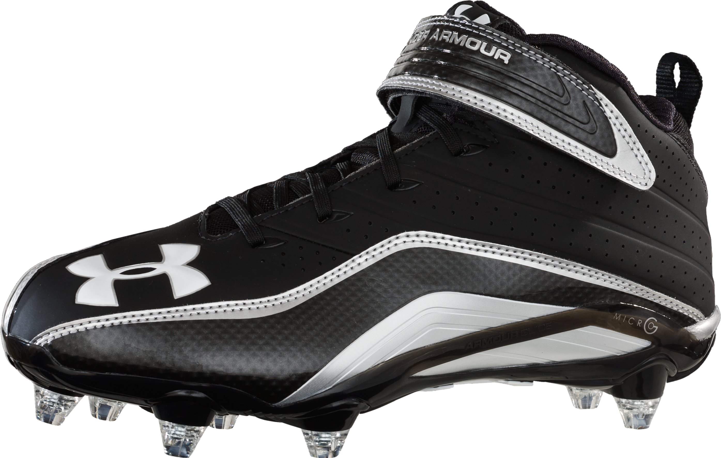 Men's UA Fierce III Mid D Football Cleats, Black , zoomed image