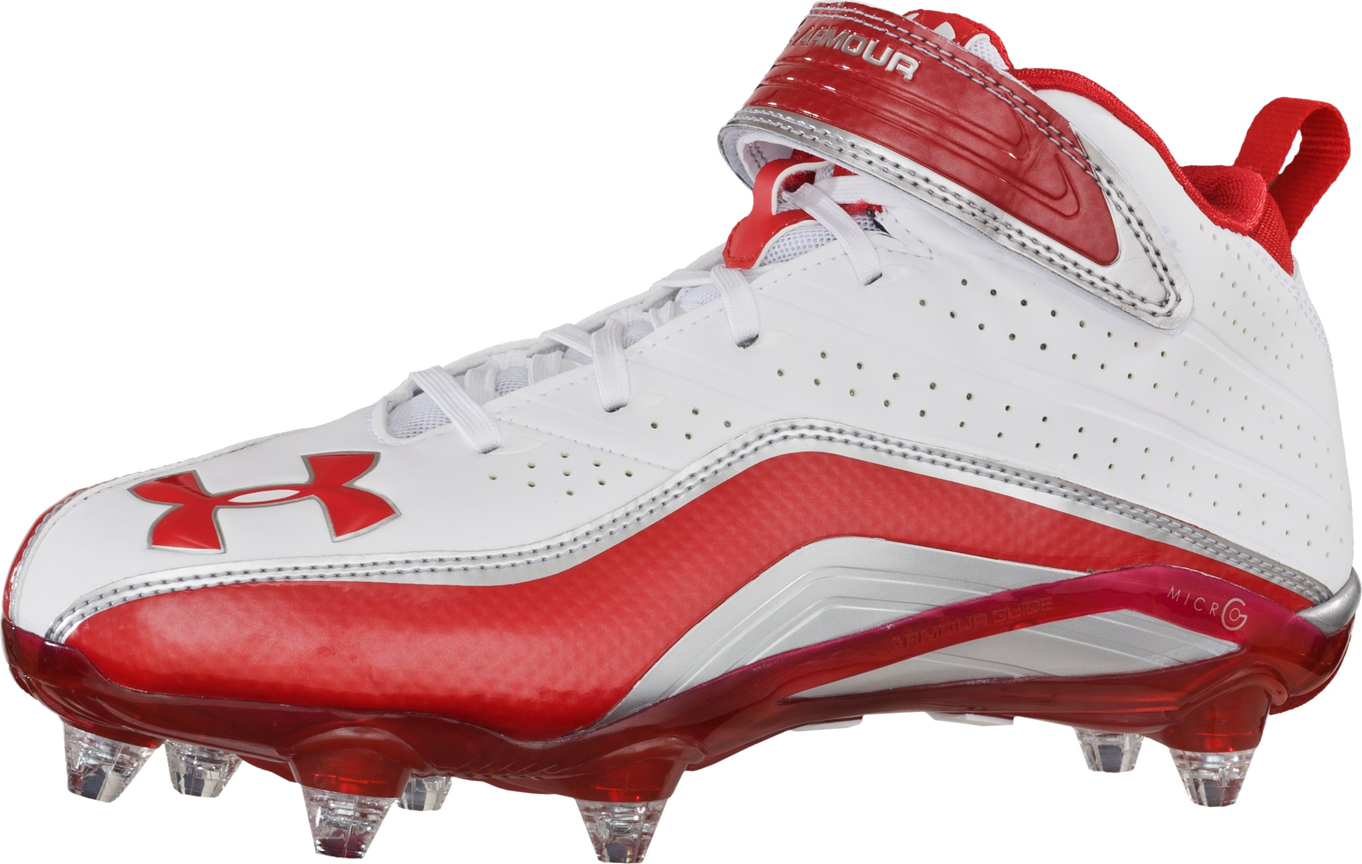 Men's UA Fierce III Mid D Football Cleats, White, zoomed image