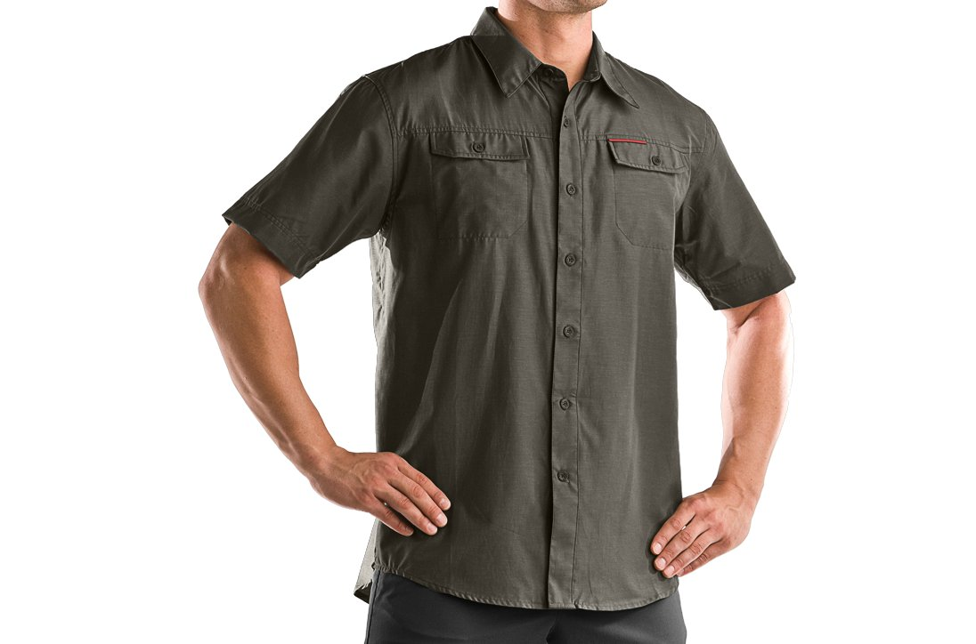 Men's Bocca Solid Short Sleeve Shirt, Rifle Green, zoomed image