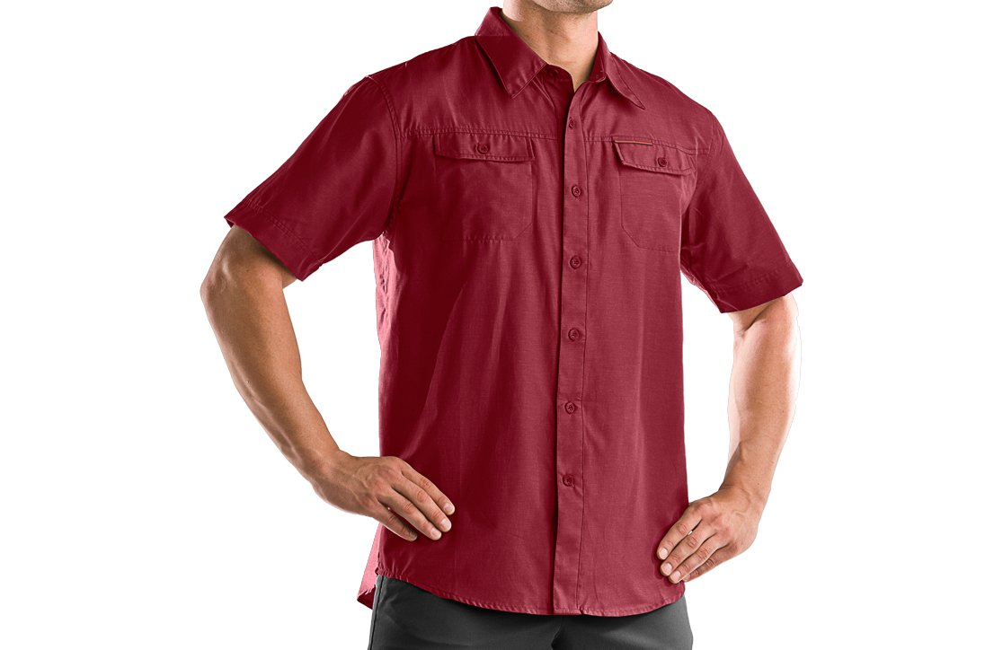 Men's Bocca Solid Short Sleeve Shirt, Crimson, zoomed image