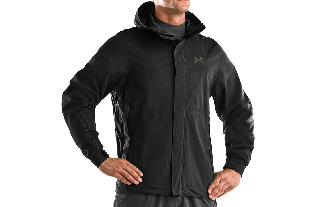 Men's UA Armour™ Stealth Hunting Rain Jacket, Black , zoomed image