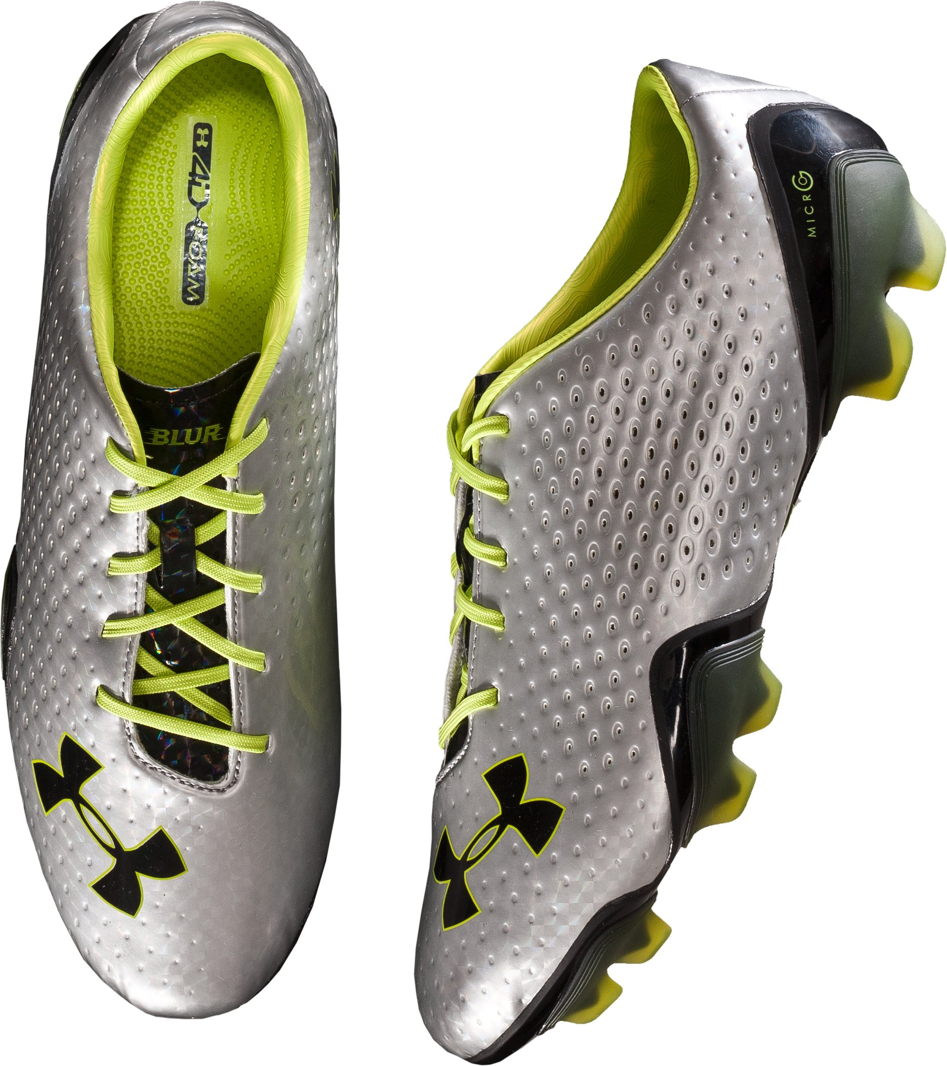 UA Blur FG Soccer Cleats, Metallic Silver, undefined