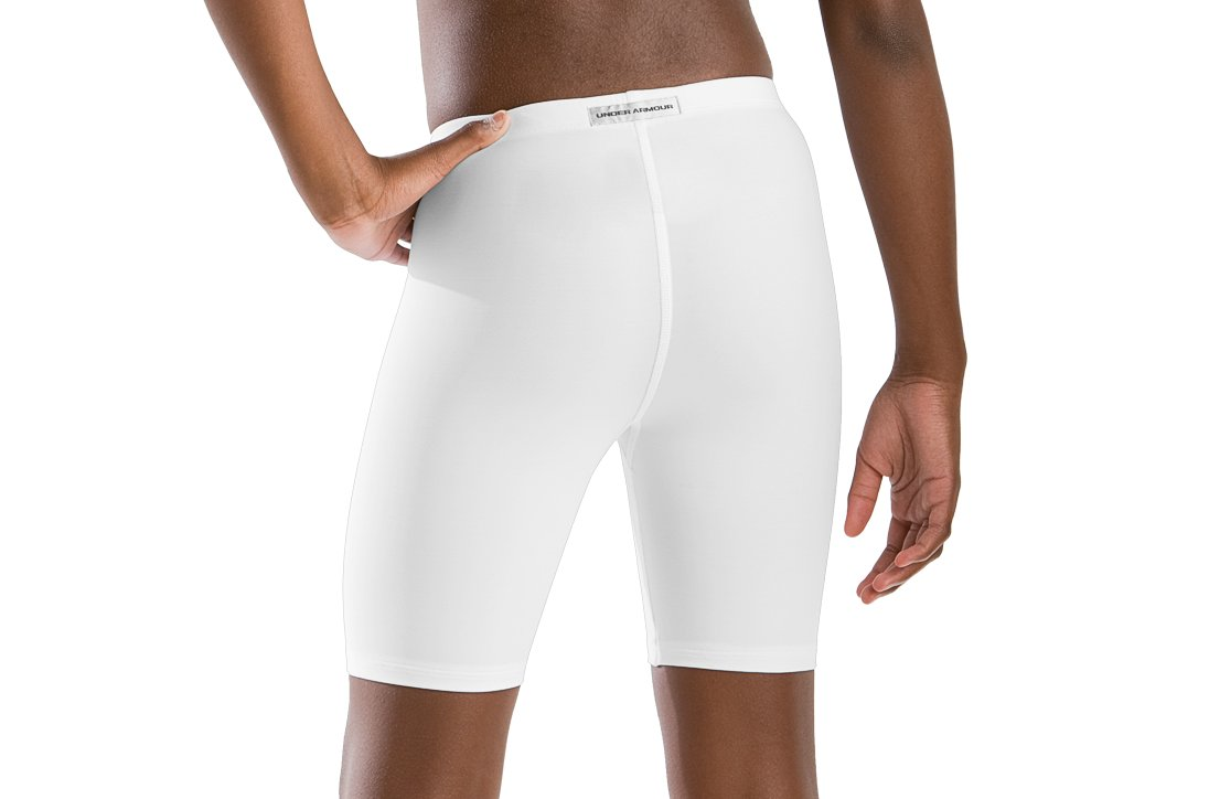 "Girls' 5"" Compression Shorts, White"