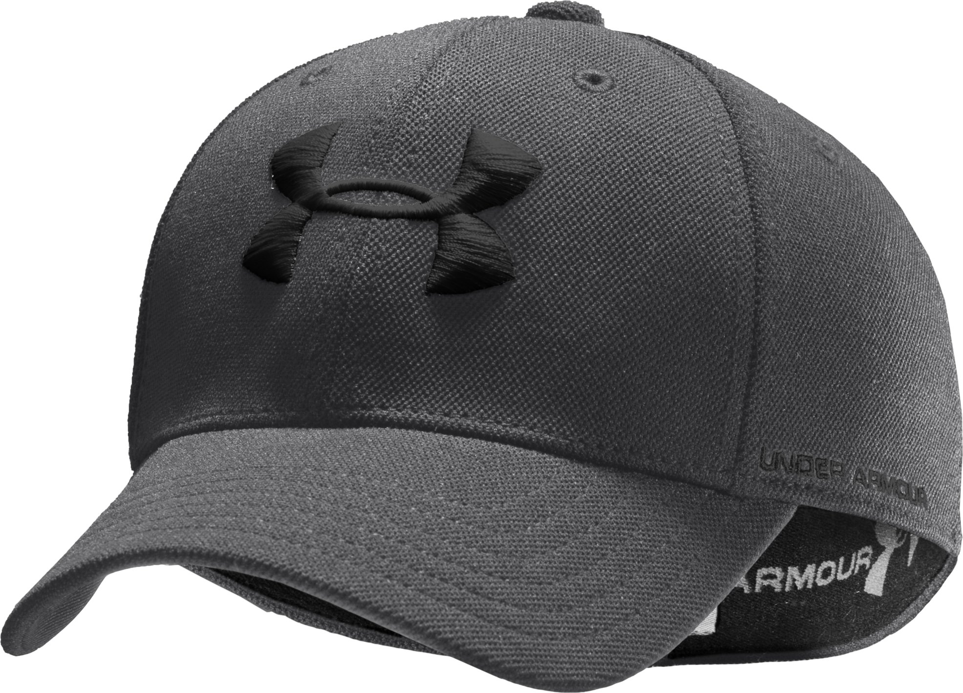 Boys' Armour® Stretch Fit Cap, Graphite, zoomed image