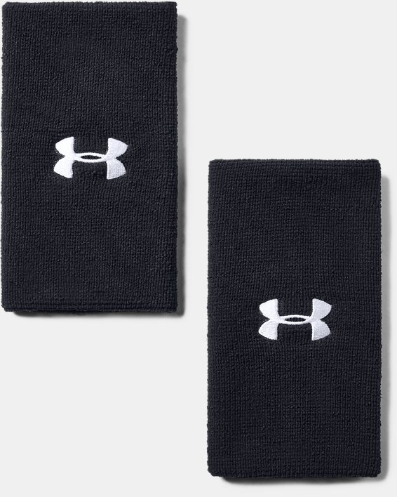 "6"" UA Performance Wristband 2-Pack, Black, pdpMainDesktop image number 1"