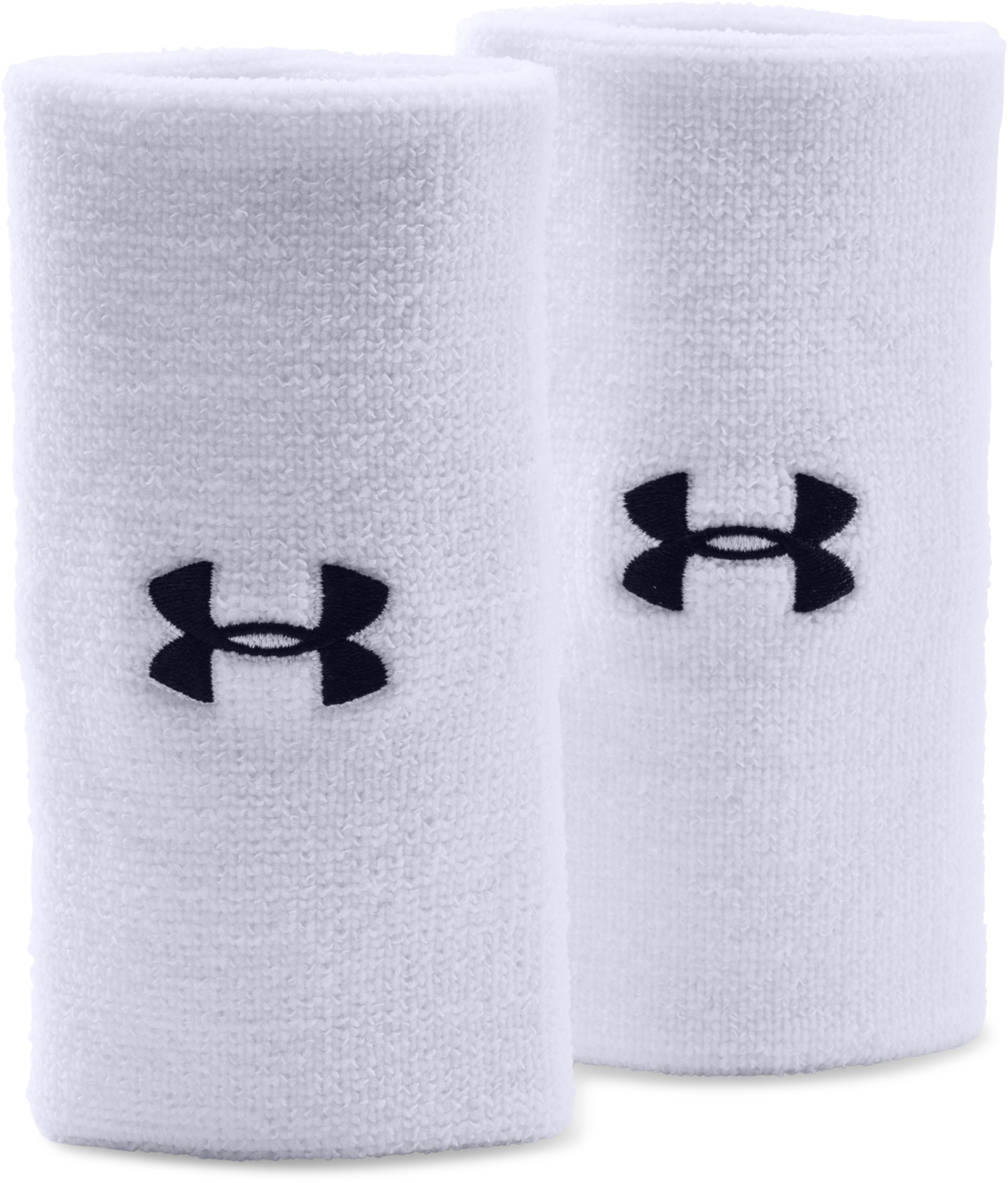 "6"" UA Performance Wristband 2-Pack, White, zoomed image"
