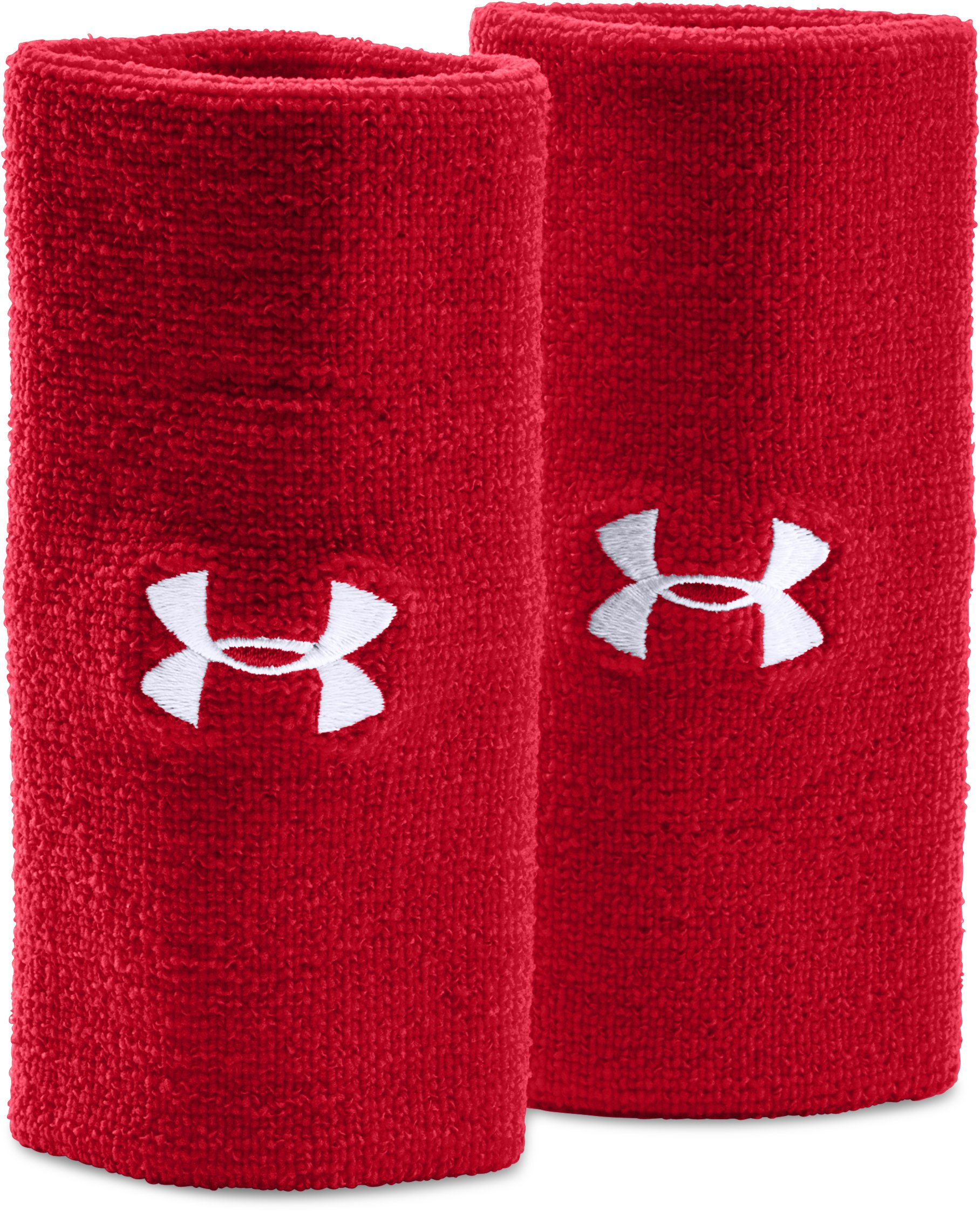 "red wristbands 6"" UA Performance Wristband 2-Pack Great sweat bands...Washes up just fine....Perfect Choice!"