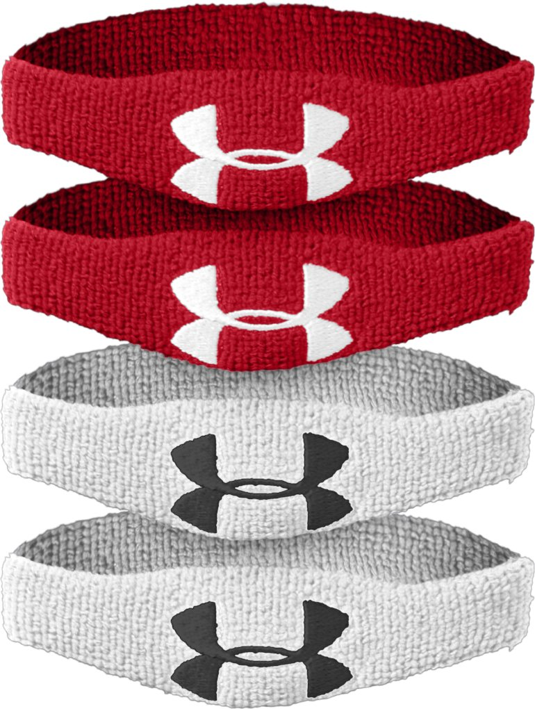 "½"" UA Oversized Performance Wristband 4-Pack, Red"